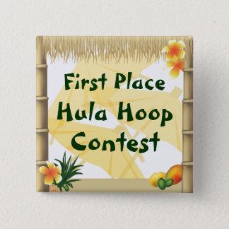 Luau Party-erster Platz Hula Band-Preis-Knopf Quadratischer Button 5,1 Cm