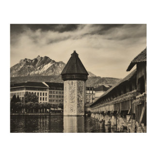 Lucerne Chapel Bridge and Mt. Pilatus photo Holzwanddeko