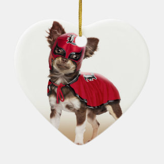 Lucha libre Hund, lustige Chihuahua, Chihuahua Keramik Herz-Ornament