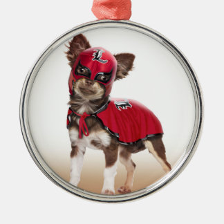 Lucha libre Hund, lustige Chihuahua, Chihuahua Silbernes Ornament