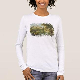 Ludlow Schloss mit Dinham Wehr, vom Süden-Wes Langarm T-Shirt