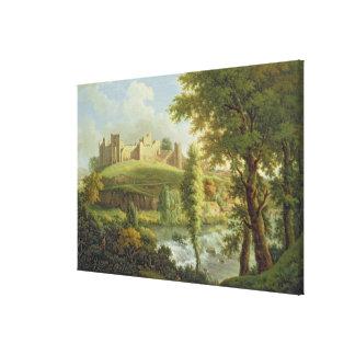 Ludlow Schloss mit Dinham Wehr vom Süden-Wes Gespannte Galeriedrucke