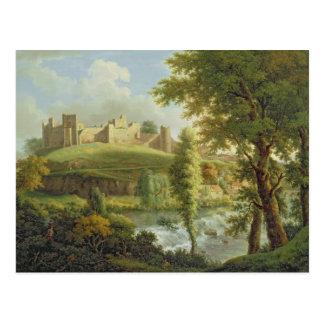 Ludlow Schloss mit Dinham Wehr, vom Süden-Wes Postkarte