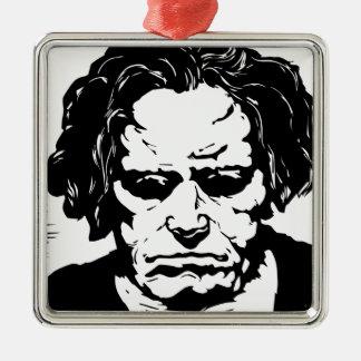 Ludwig van Beethoven - berühmter deutscher Quadratisches Silberfarbenes Ornament