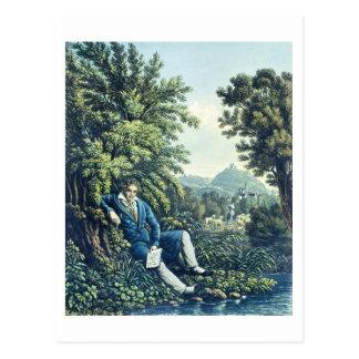 Ludwig van Beethoven durch einen Fluss (farbiges Postkarte