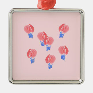 Luft-Ballon-erstklassige quadratische Verzierung Silbernes Ornament