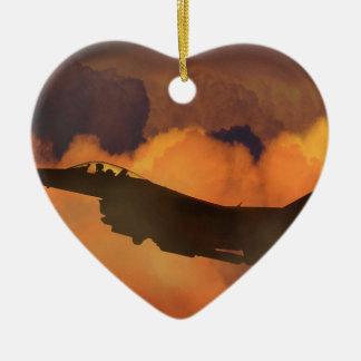 Luft-Flugzeug-Kämpfer-Nachthimmel-Mond bewölkt Keramik Ornament
