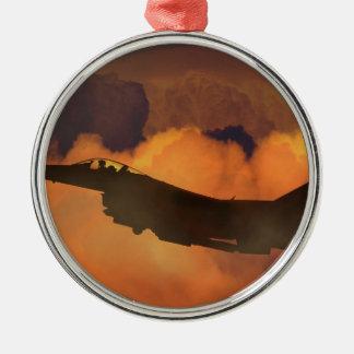 Luft-Flugzeug-Kämpfer-Nachthimmel-Mond bewölkt Silbernes Ornament