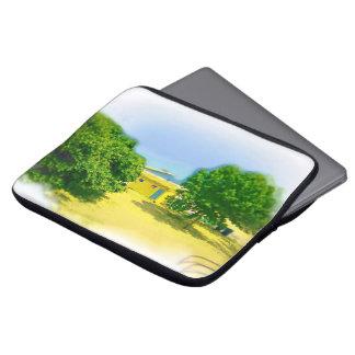 Luft gebürstete gemalte Michigansee-Ufer Laptop Sleeve
