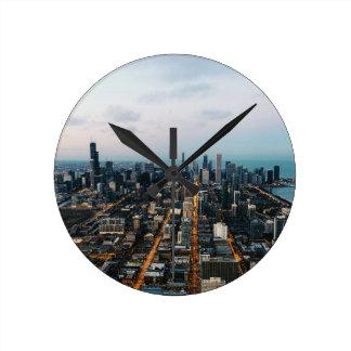 Luftaufnahme Chicagos Runde Wanduhr