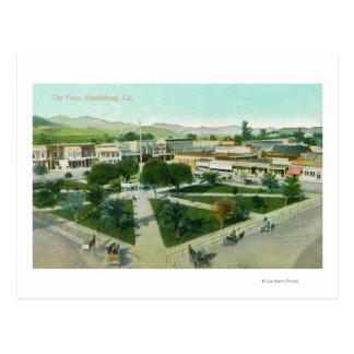 Luftaufnahme der Stadt PlazaHealdsburg, CA Postkarte