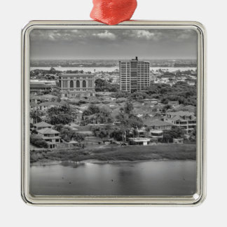 Luftaufnahme Guayaquils vom Fenster-Flugzeug Silbernes Ornament