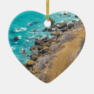 Luftaufnahme-Ozean-Küstenlinie Puerto Lopez E Keramik Herz-Ornament
