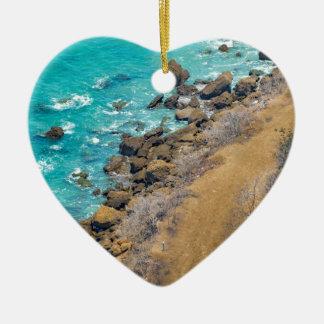 Luftaufnahme-Ozean-Küstenlinie Puerto Lopez E Keramik Ornament