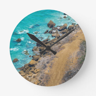 Luftaufnahme-Ozean-Küstenlinie Puerto Lopez E Runde Wanduhr