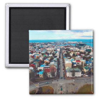 Luftaufnahme Reykjavik Quadratischer Magnet