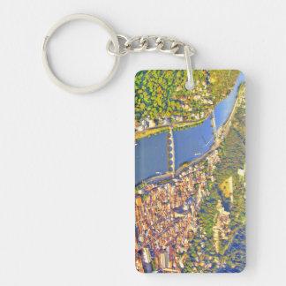 Luftaufnahme romantischer Heidelbergstadt u. Schlüsselanhänger