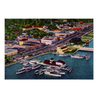 Luftaufnahme-Strand-Straße Daytona Beach Florida Poster