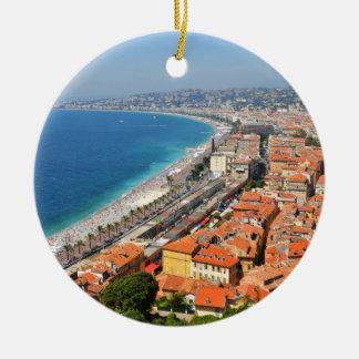 Luftaufnahme von französischem Riviera in Nizza, Rundes Keramik Ornament