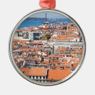 Luftaufnahme von Lissabon, Portugal Silbernes Ornament