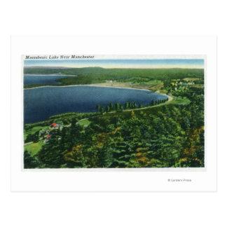 Luftaufnahme von Massabesic See nahe Stadt Postkarte