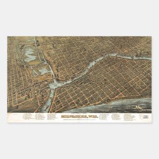 Luftaufnahme von Milwaukee, Wisconsin (1872) Rechteckiger Aufkleber