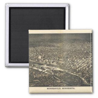 Luftaufnahme von Minneapolis, Minnesota (1885) Quadratischer Magnet