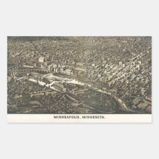 Luftaufnahme von Minneapolis, Minnesota (1885) Rechteckiger Aufkleber