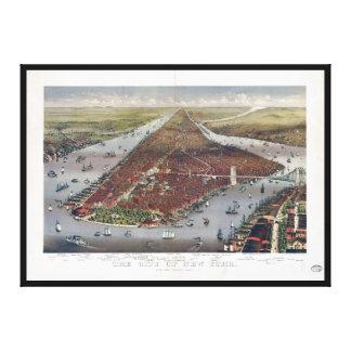 Luftaufnahme von New York City (1884) Leinwanddruck