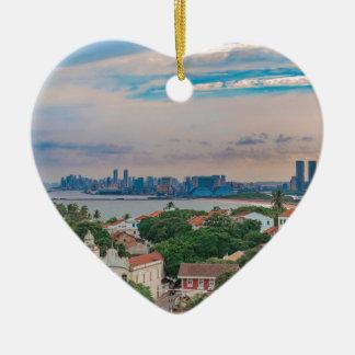 Luftaufnahme von Olinda und von Recife Pernambuco Keramik Herz-Ornament