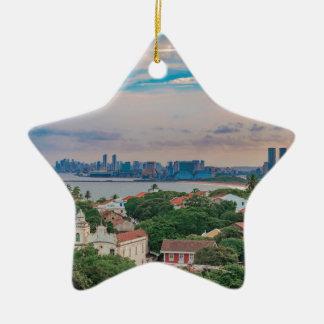 Luftaufnahme von Olinda und von Recife Pernambuco Keramik Stern-Ornament