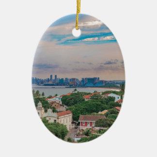 Luftaufnahme von Olinda und von Recife Pernambuco Ovales Keramik Ornament