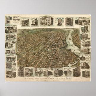 Luftaufnahme von Ottawa, Kanada (1895) Poster