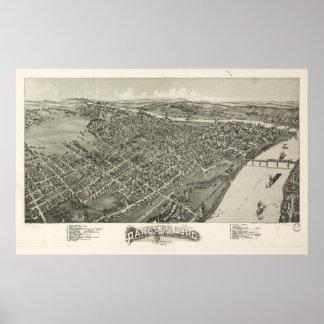 Luftaufnahme von Parkersburg, West Virginia (1899) Poster