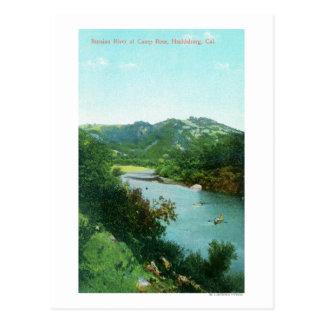 Luftaufnahme von russischem Fluss an der Postkarte