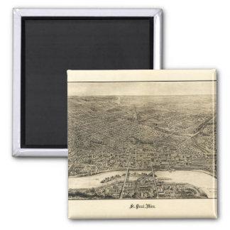 Luftaufnahme von Saint Paul, Minnesota (1906) Quadratischer Magnet
