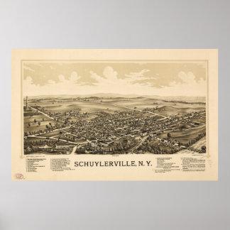 Luftaufnahme von Schuylerville, New York (1889) Poster