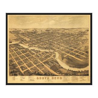 Luftaufnahme von South Bend, Indiana (1874) Leinwanddruck