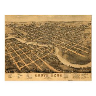 Luftaufnahme von South Bend, Indiana (1874) Postkarte