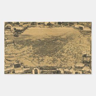 Luftaufnahme von Stockton, Kalifornien (1895) Rechteckiger Aufkleber