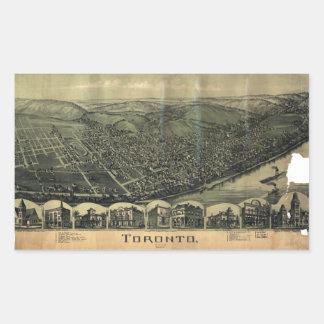 Luftaufnahme von Toronto, Ohio (1899) Rechteckiger Aufkleber