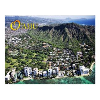 Luftaufnahme von Waikiki Strand und Diamant gehen Postkarte