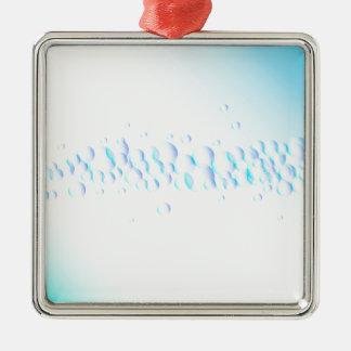 Luftblasen auf Wasser Quadratisches Silberfarbenes Ornament