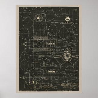 Luftfahrt Brewster Flugzeug-Entwurfs-Kunst-Druck Poster