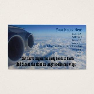 Luftfahrt-Gedicht für Flieger-Fluglinien-Crew Visitenkarten