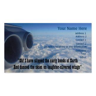 Luftfahrt-Gedicht für Flieger Visitenkarten