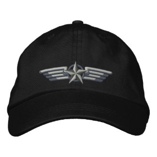 Luftfahrt gestickte Stern-Abzeichen-Pilotflügel Bestickte Kappe