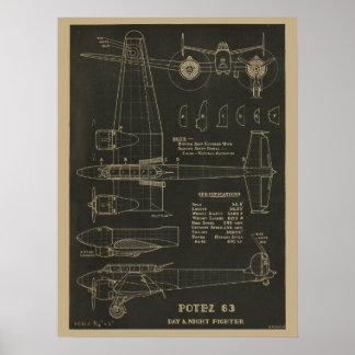Luftfahrt Potez Flugzeug-Entwurfs-Kunst-Druck 1938 Poster