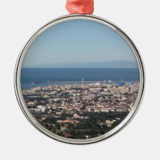 Luftpanorama von Livorno-Stadt Toskana Italien Silbernes Ornament