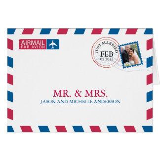 Luftpost-Hochzeit danken Ihnen Karte